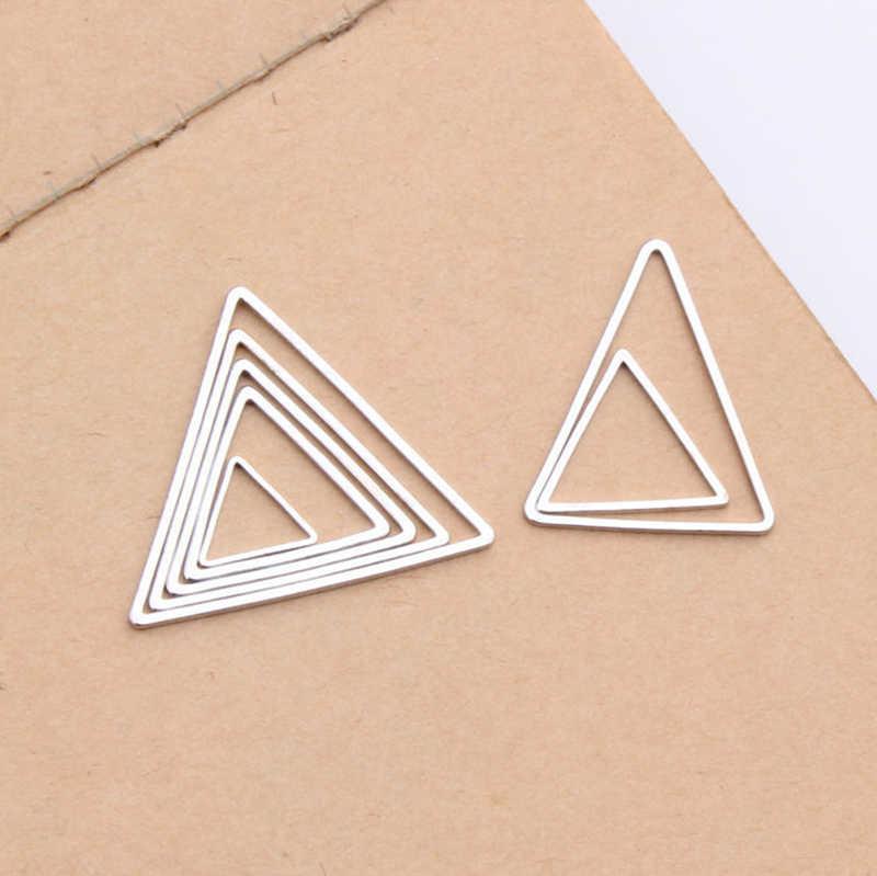 新 10 ピース/セットゴールド/銀色 Diy の三角形のイヤリングアクセサリー作り所見コネクタイヤリングペンダントジュエリー