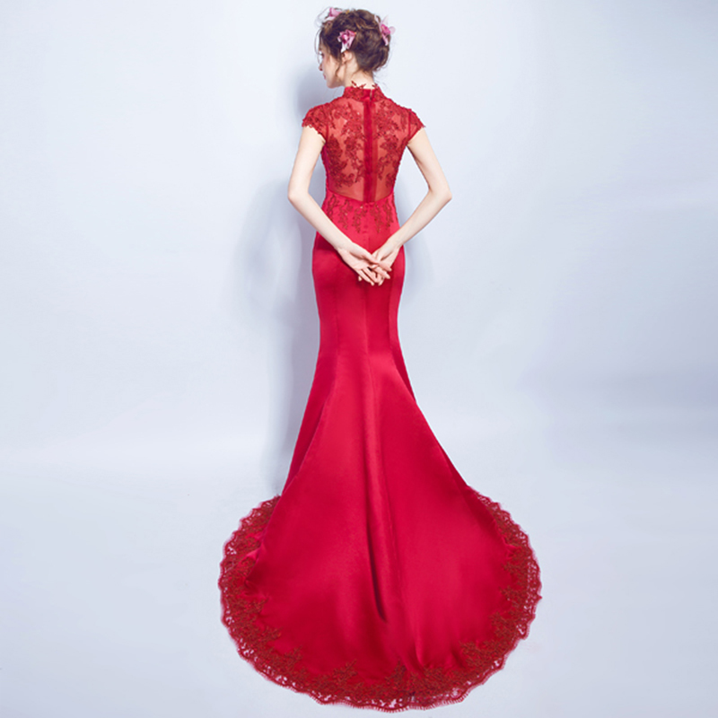 Wine Red Lace Nail Pearl Perspective Bride Marry Tailing Wedding Qipao Long Cheongsam Modern Chinese Dress Traditional Oriental