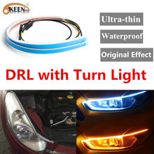 OKEEN 2pcs New Car Styling Dual Color Daytime Running Lights White Headlight LED Strip Amber Turn Light DRL Angel Eyes Fog Lamp(China)