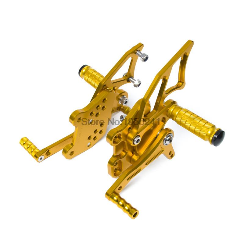 Adjustable Pedals CNC Motorcycle Rearset Rear Set Footrest Pegs for Yamaha YZF-R25/R3 2014 2015 2016 Gold adjustable pedals cnc motorcycle rear foot rest pegs for yamaha yzf r25 yzf r3 2014 2015 2016 yzf r3 r25 gold