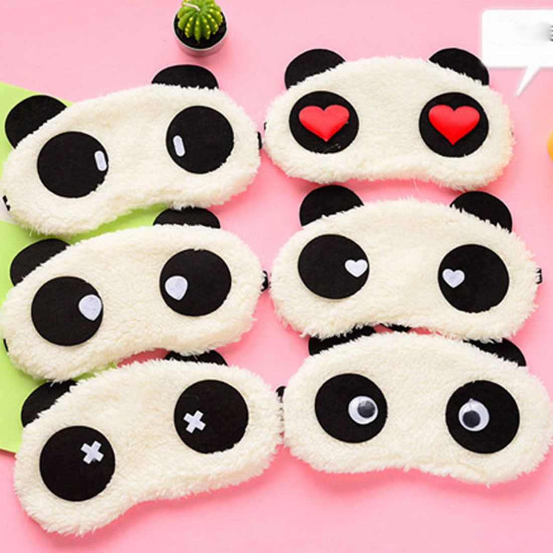 น่ารัก Panda Face Eye Travel Sleeping Mask Soft Padded Sleep Travel Shade Cover Rest Relax Sleeping Blindfold
