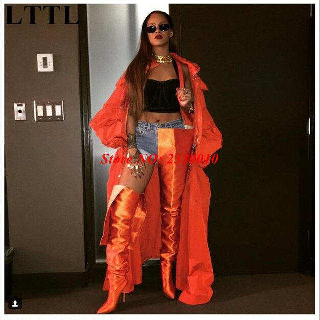 ee7868292e7 New Extreme Long Women High Waist Satin Booties Rihanna Wearing Shoes Woman  Over Thigh High Boots Pointed Toe Crotch High Boots