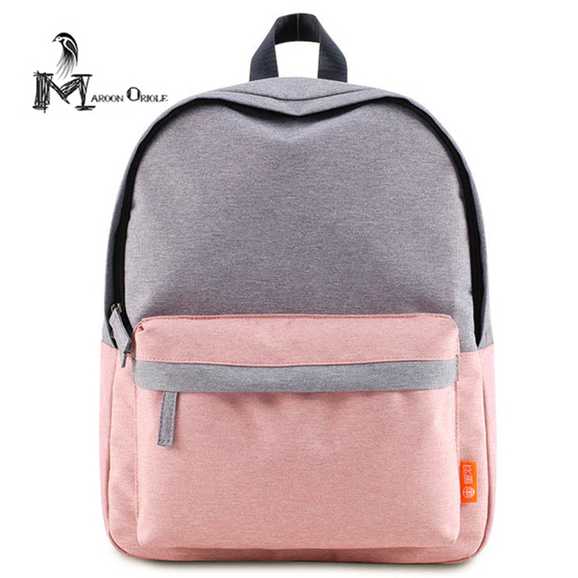 Small pink backpack cute baby pink bag two color contrast women ...