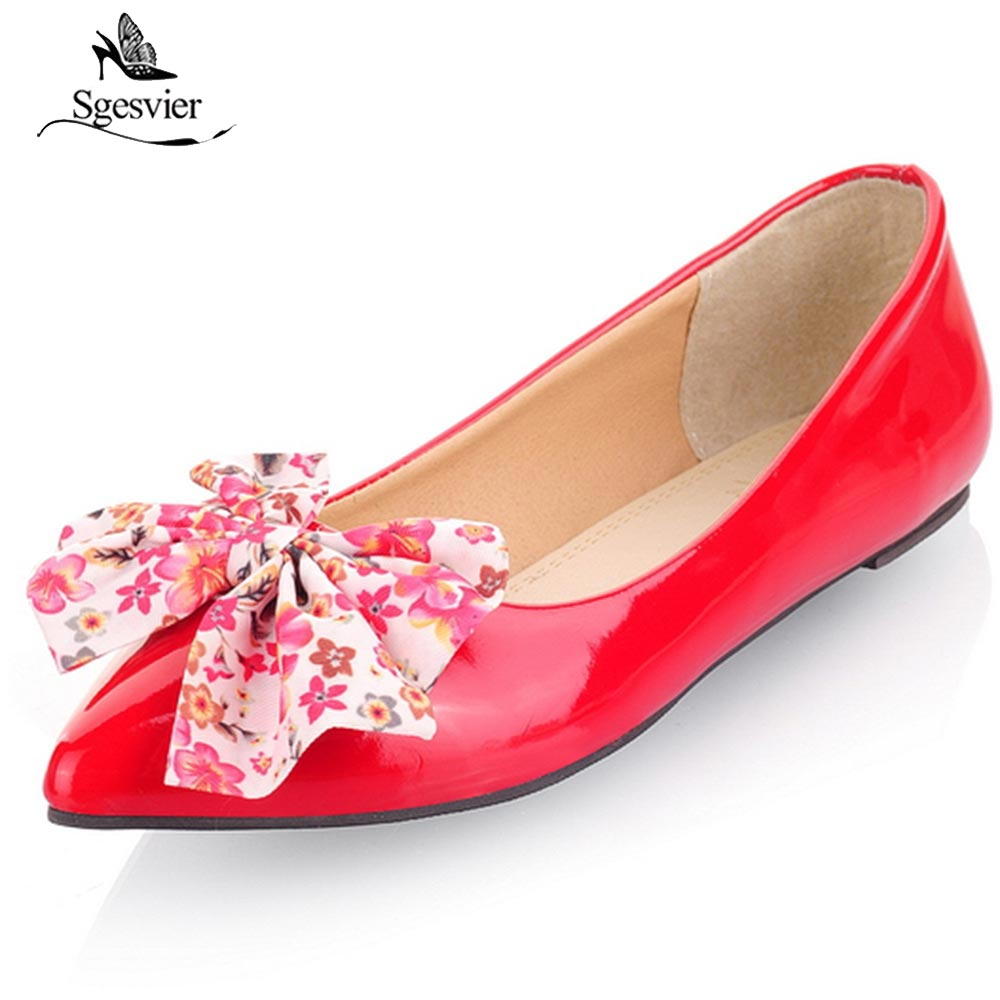 SGESVIER Pointed Toe Women Flat Shoes Patent Leather Bow Tie Large Size 30-49 Shoes Woman Spring Summer Fashion Footwear OX282 hot sale 2016 new fashion spring women flats black shoes ladies pointed toe slip on flat women s shoes size 33 43