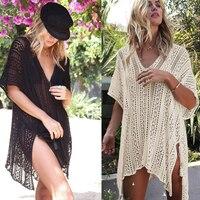 Knitted Pareo Beach 2018 Bathing suit Cover Ups Hollow Sexy Swimsuit Beach Tunic Plage Beachwear beach tunics