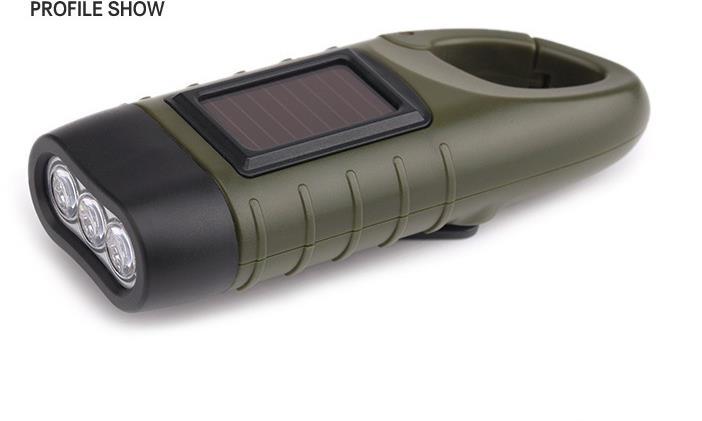Led Dynamo Taschenlampe Solar wiederaufladbare Taschenlampe Karabinerhaken tragbar