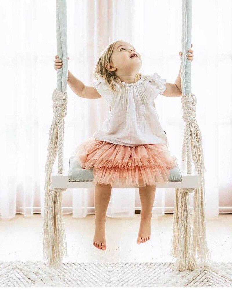 INS balancelle enfant chaise suspendue décoration chambre enfant balancelle bois massif planche eponge Pad coton corde balancelle