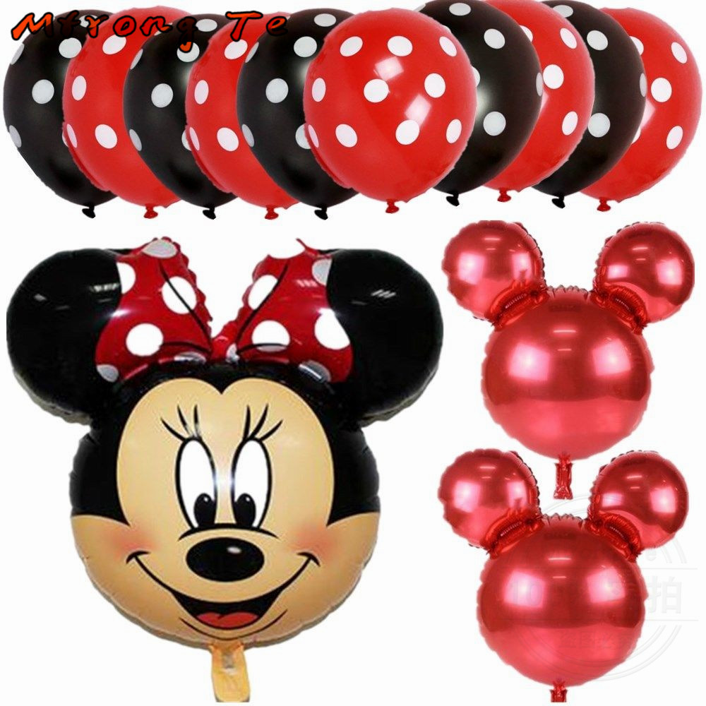13pc mickey minnie mouse foil balloons lot helium latex globos baby shower birthday party Wedding decoration supplies kids toys