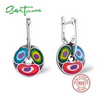 Silver Drop Earrings For Women Colorful Enamel Women Earrings Party Fashion Jewelry HANDMADE