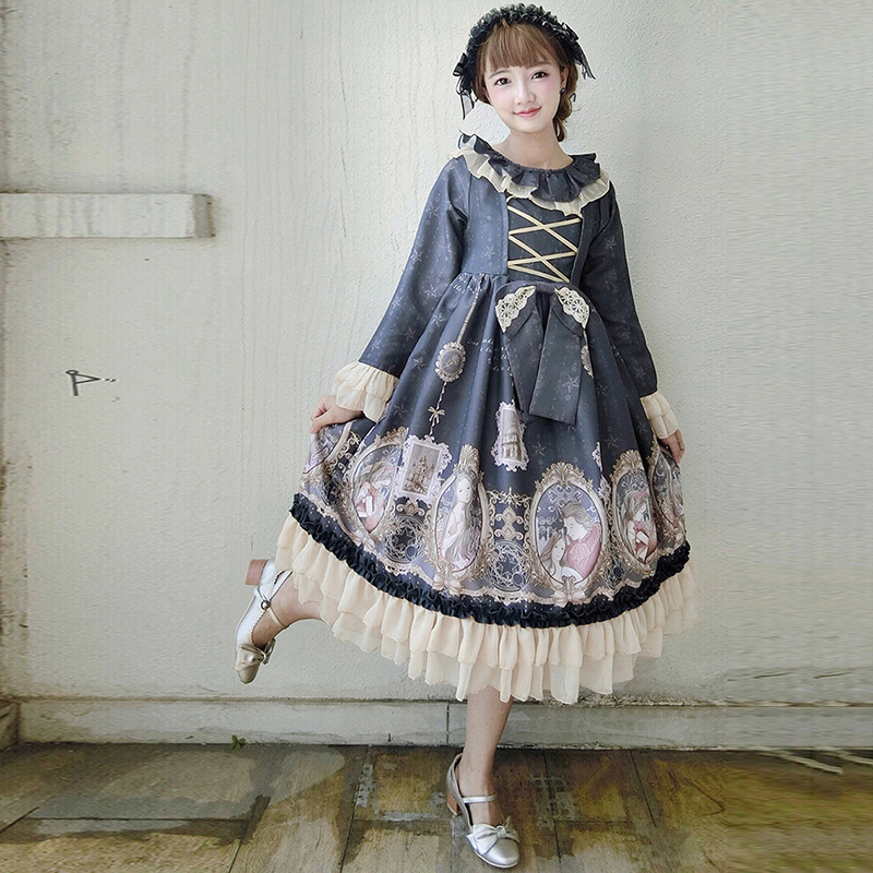 Japanische Cosplay Stil Nette Lolita Kleid Patchwork Print Bowknot - Kostüme