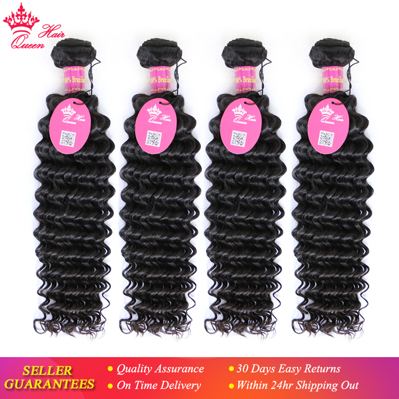 Queen Hair Products Deep Wave Brazilian Virgin Hair Bundles 4pcs lot 10 28 100 Human Hair