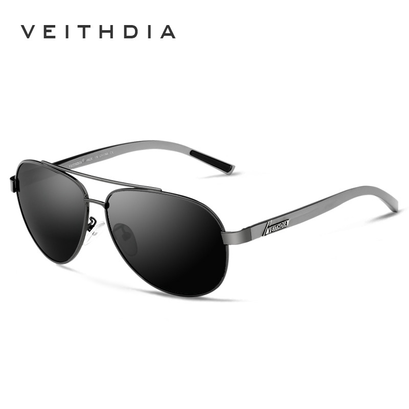 VEITHDIA Aluminum Magnesium Frame Pilot Sunglasses Men Coating mirror Polarized driving vintage Sun Glasses Ocolos male
