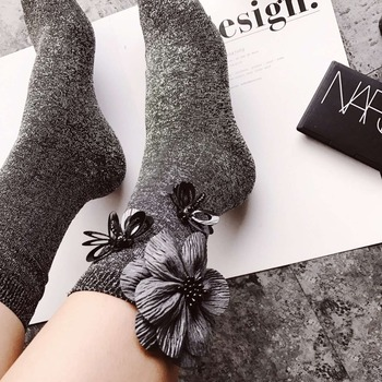 2020 sequined dragonfly beading floral socks women autumn and winter wholesale price - discount item  35% OFF Women's Socks & Hosiery