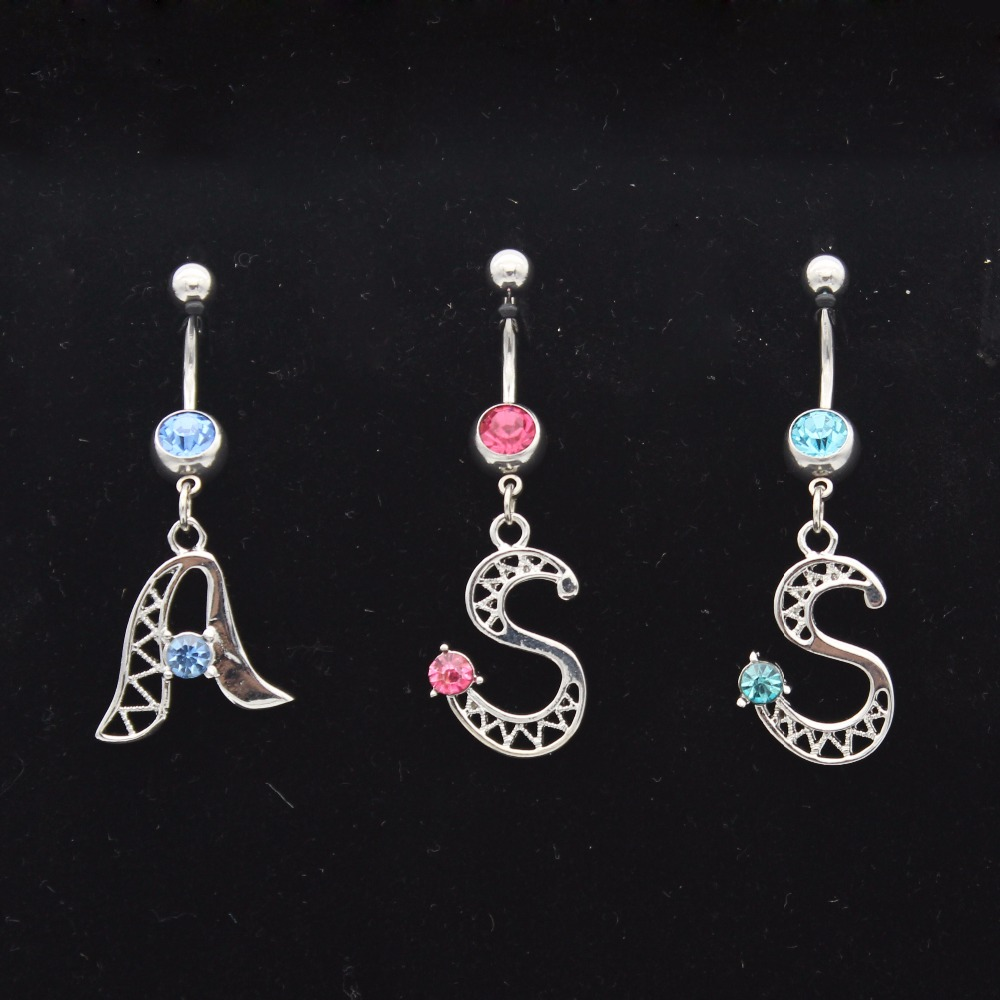 2pcs/lot Fashion Surgical Steel Navel Belly Button Rings Piercing Nombril A-Z Alphabet Crystal Piercing Ombligo Body Jewelry