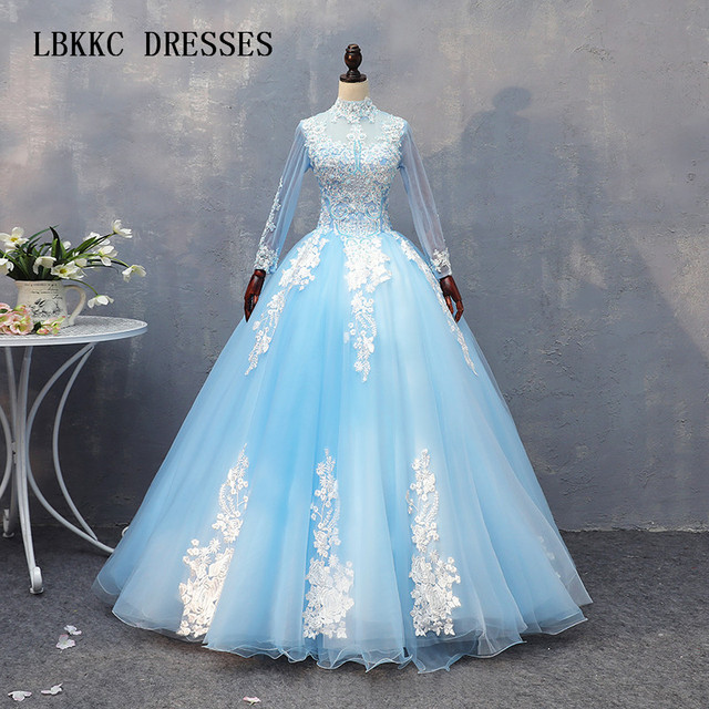 a28d033fc7a Light Blue Quinceanera Dresses 2018 High Neck Long Sleeves Tulle With White Lace  Elegant Vestidos De Quince Anos 2018