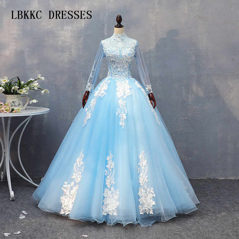 Light Blue Quinceanera Dresses 2018 High Neck Long Sleeves Tulle With White Lace Elegant Vestidos De Quince Anos 2018