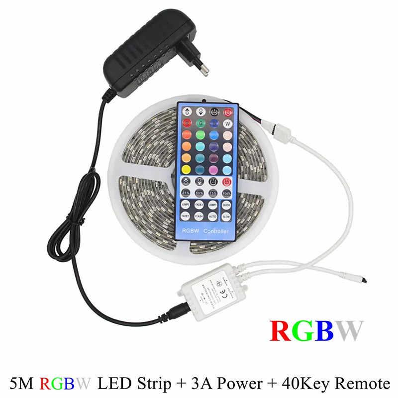 5 M 300 LED s bande RGB 5050 LED étanche bande de lumière SMD 5050 RGBW RGBWW bande de LED avec télécommande et alimentation 3A DC12V