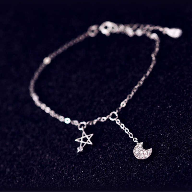 XIYANIKE 925 пробы Серебряный сладкий инкрустированные горный хрусталь циркон Звезда Луна браслет себе украшения для женщин Подарки VBS4144