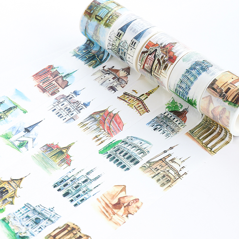 The World Famous Architecture Washi Tape DIY Decorative Masking Sticky Adhesive Tape For Scrapbooking & Phone Decoration