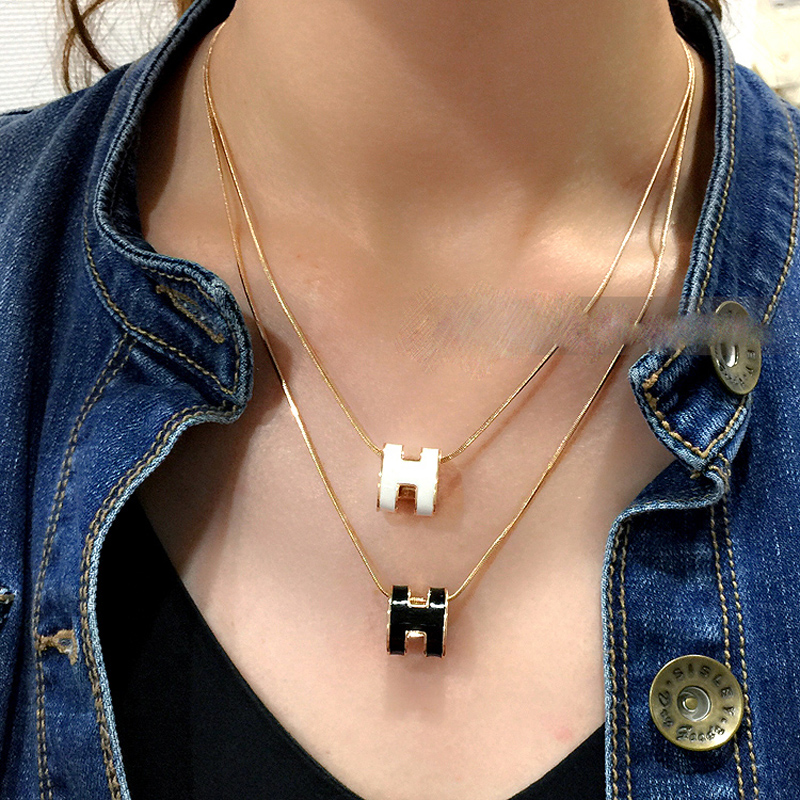 Red/Orange/White/Black Enamel H Pendant Necklace Letters Alphabet Trendy Top Brand UVOGUE Jewelry Wholesale