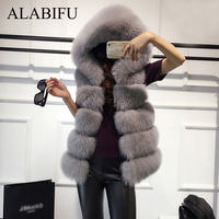 ALABIFU Faux Fur Coat Women 2019 Casual Hoodies Warm Slim Sleeveless Faux Fox Fur Vest Winter Jacket Coat Women casaco feminino