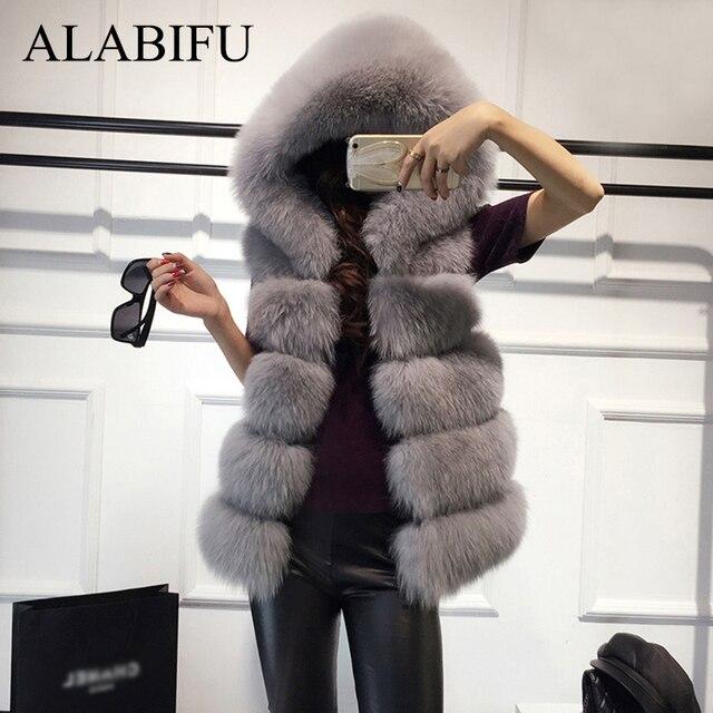 ALABIFU Hoodies Do Falso Casaco De Pele Das Mulheres 2019 Casual Quente Magro Sem Mangas Falso Colete de Pele De Raposa Casaco Mulheres Jaqueta de Inverno casaco feminino