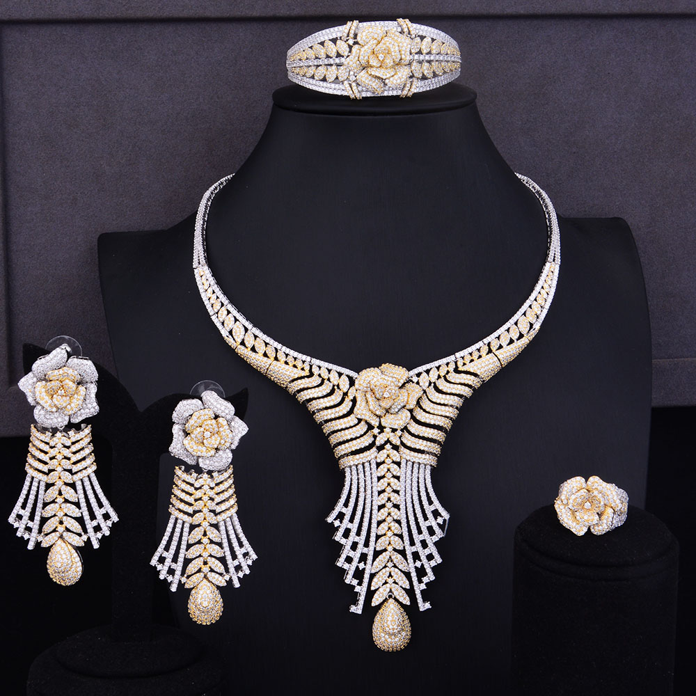 GODKI Luxury Tassels Flower Women Wedding Cubic Zirconia Choker Necklace Earring Dubai Jewelry Set Jewellery Addiction flower geometric bar choker necklace set