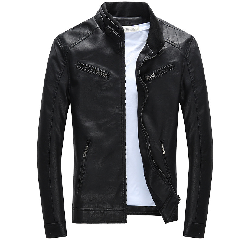 M-3XL Plus Fleece Men Leather Jacket Motorcycle Leather Jacket Male Fashion Casual Stand Collar Solid Slim Mens Leather Jacket