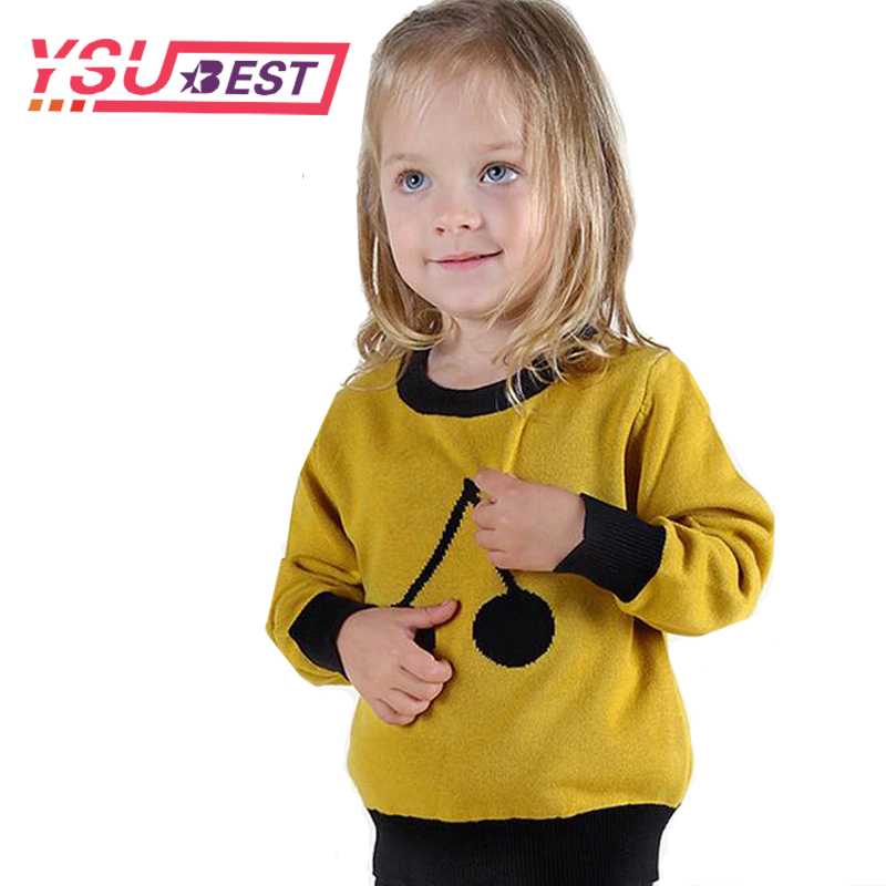 Spring Girls Sweater 2018 Cherry Pattern Toddler Sweater Children Warm Tops Cotton Kids Boys Girls Long Sleeve Pullovers Sweater цена