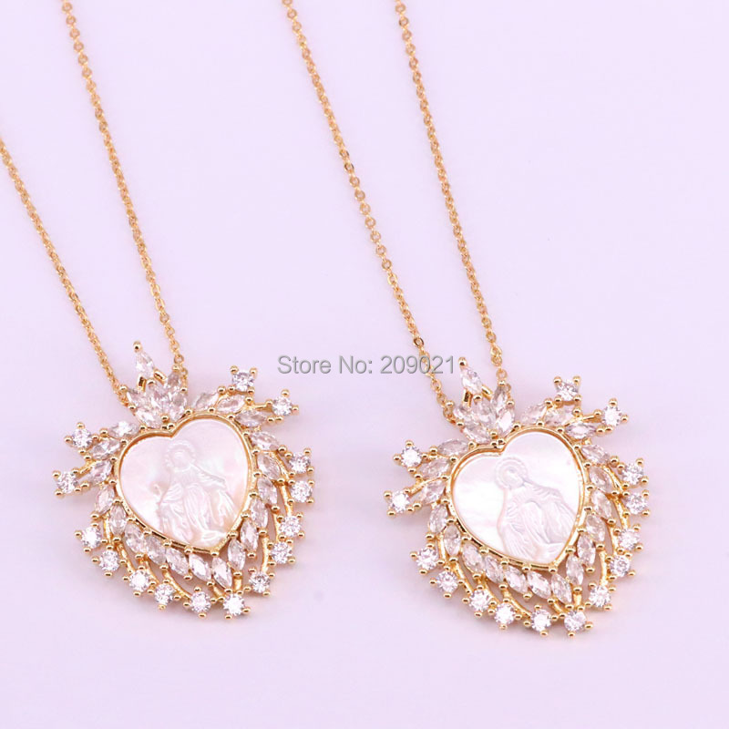 5Pcs Heart shape CZ Paved New Natural Mother of Pearl MOP Shell Maria Pendant Necklace Jewelry