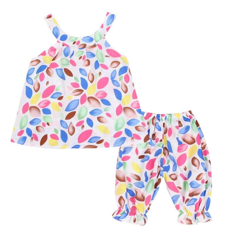 2PCS/Set Summer Baby Girls 100% Cotton Clothing Set Colorful Print Tank Top+Pants Ruffle Girls Outfits Hot Sale