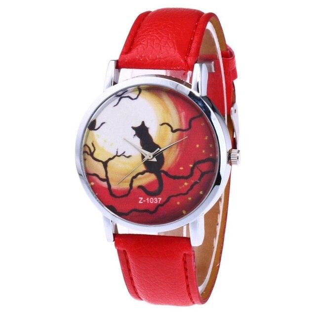 Lindo gato patrón moda mujeres reloj de cuarzo Delgado PU correa de cuero  Dial redondo relojes f1160e53da0a
