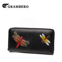 Vintage Style Dragonfly Pattern Top Leather Purse Women Fashion Banquet Clutch Wallet 2018 New Zipper Card