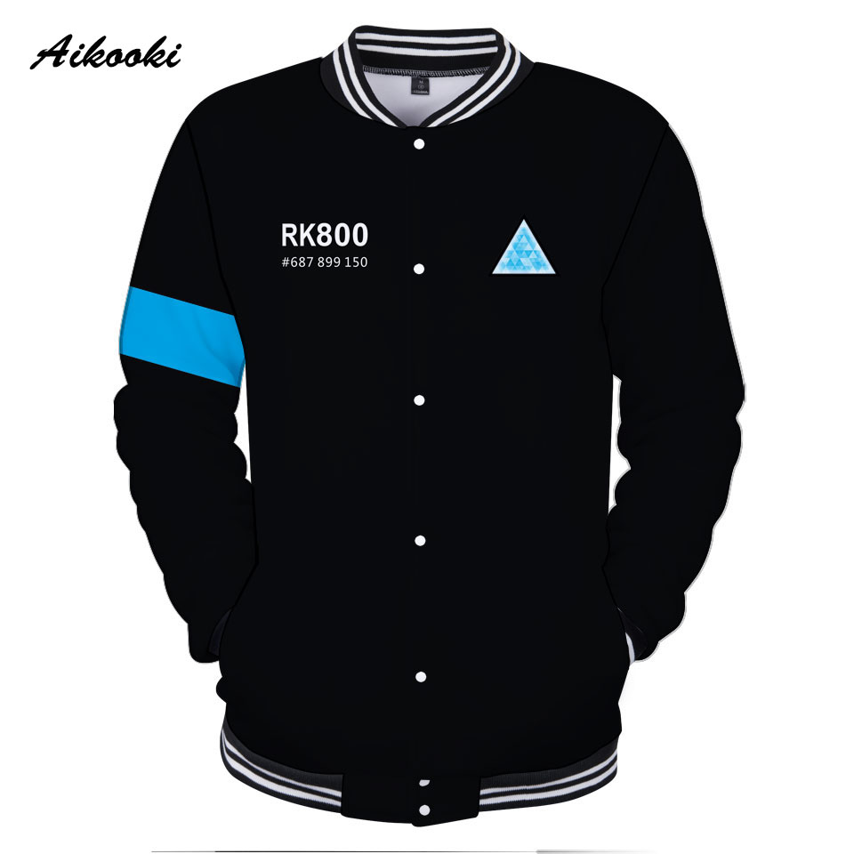 Women's Clothing Funny Hot Game Detroit Becomes Human 3d Printed Character Baseball Jackets Uniform Fashion Cool Jacket Clothes For Men And Women