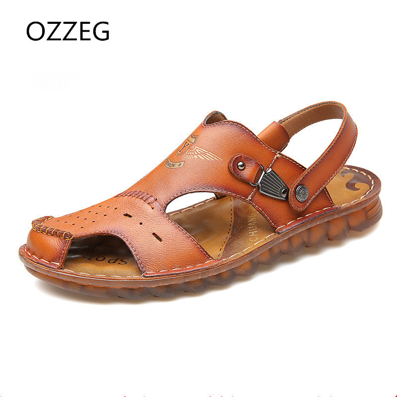 Fashion Men Casual Slip On Summer Sandals Mens Genuine Leather Beach Sandals Slippers Soft Casual Men Shoes Sandals Flat Shoes