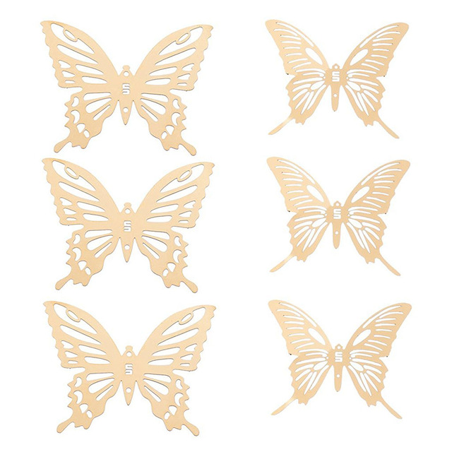 6 Stücke 6*5 Cm Metall Schmetterling Dekor Wand Verschönerung 3D Wand Kunst  Aufkleber Dekoration