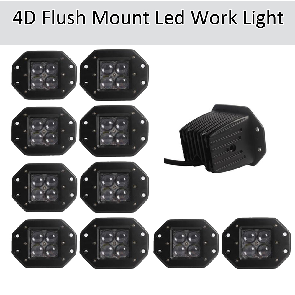 10PCS 20W 4D LED Work Light Bar Fkush Mount Cube Pods Spot/Flood Beam Offroad Driving for SUV ATV 4x4 4WD Truck Motorcycle Boat картофелевыкапыватель champion с3000