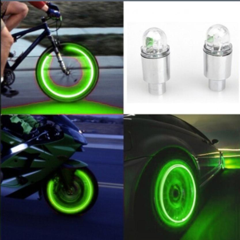 2017 Auto Accessories Bike Supplies Neon Blue Strobe LED Tire Valve Caps KXL0421