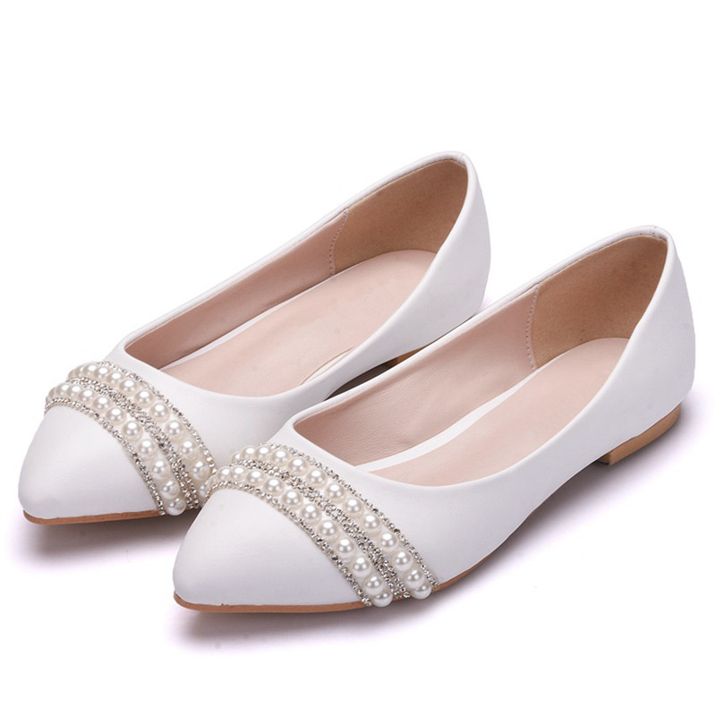 White Cute Pearls Flats Women Pointed Toe Ballet Comfortable Wedding Shoes Casual Bridesmaid XY-A0147