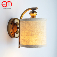 LOFT American Wrought Wall Lamp Copper body Fabric Lampshade Sconce Lamparas Luminaria E14 Blub Bedside reading light ZBD0103