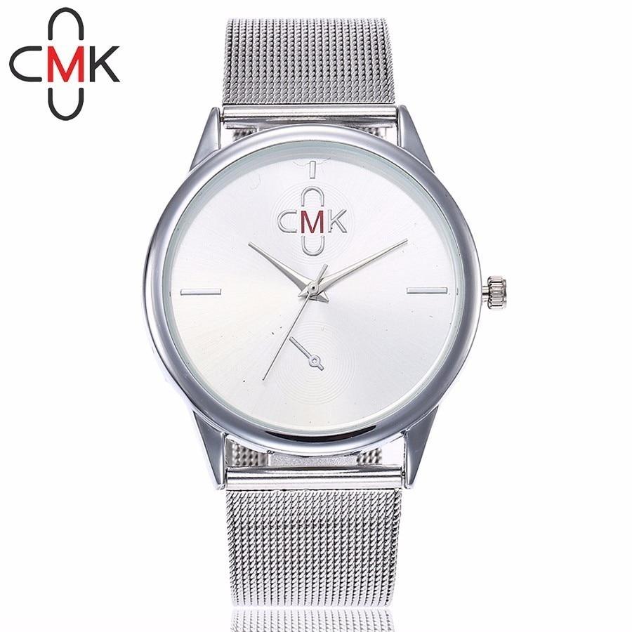 купить CMK Brand Silver Gold Mesh Watch Fashion Casual Women Stainless Steel Quartz Wristwatches Gift Clock Relogio Feminino по цене 287.18 рублей