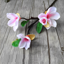1pcs4 Heads Artificial Mangnolia Flower Fake Moth flor Orchid for Home Wedding DIY Decoration Real Touch Decor Flore