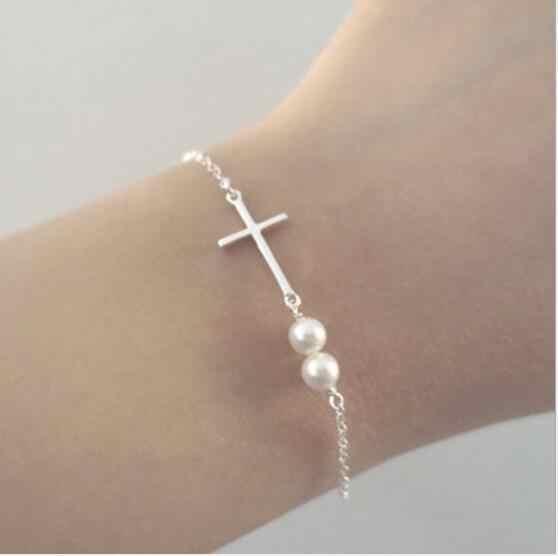 Tenande New Fashion nieskończoność pozostawia gołąb pokoju krzyż imitacja perły bransoletki i Bangles dla kobiet gorąca sprzedaż prezent na walentynki