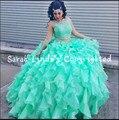 Verde Dois Pedaços de imagem real Vestidos Quinceanera 2016 Ruffles Organza Lace Apliques Cristais Sweet 16/15 vestidos quinceanera