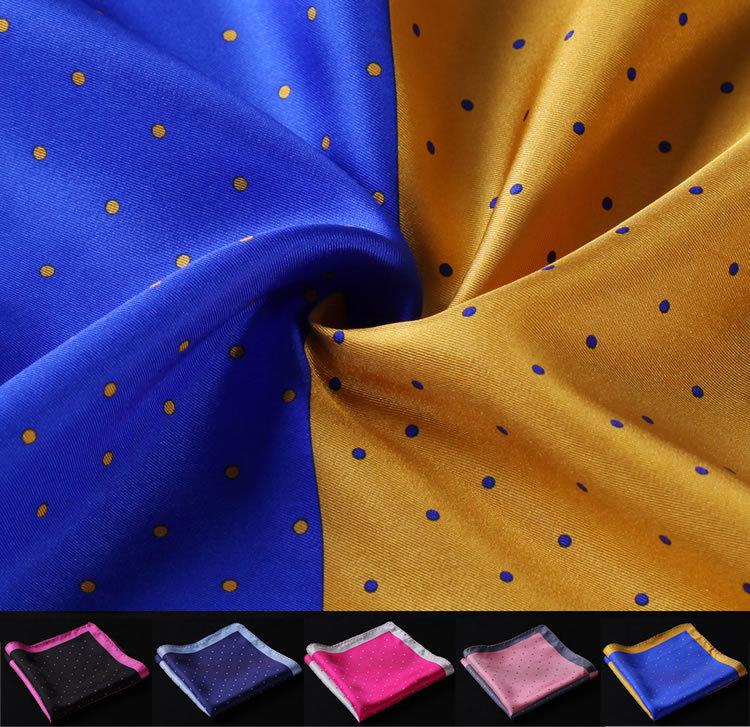 HN14 Polka Dot Handkerchief 100% Natural Silk Satin Mens Hanky Fashion Classic Wedding Party Pocket Square
