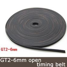 20 metros Hot sale 2 metros cinto GT2 Gt2-6mm Correia dentada aberto largura 6mm Para 3D Printer parts