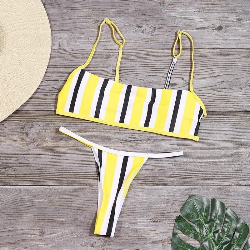 Sexy Stripe Print Swimsuit Women Solid Tube Top Bathing Suit High Cut Bikini Set Backless Beachwear Summer Brazilian Swimwear 4