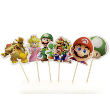 Happy Birthday Party Super Mario Theme Kids Boys Favors Cupcake Toppers With Sticks Decoration Baby Shower Cake Topper 24PCS(China)
