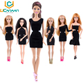 2016 New Clothes A Lot = 5 Pieces Fashion Lady Black Handmade Cool Dresses Outfit for Barbie Doll DIY Accessories