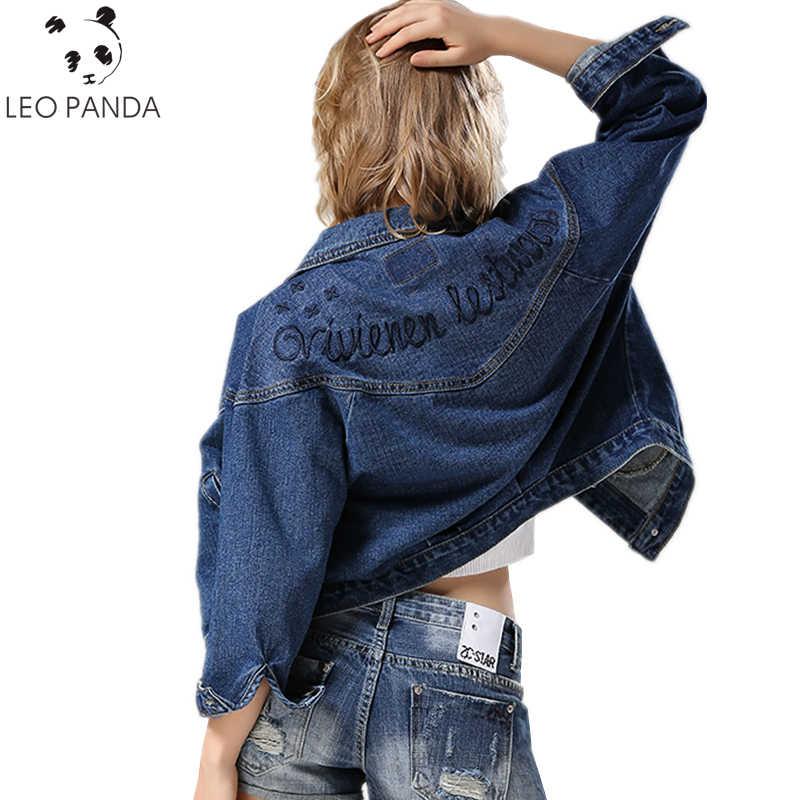 0482b1e002f Модная женская джинсовая куртка с лацканами винтажная укороченная короткая джинсовая  куртка 2019 с длинным рукавом джинсовая